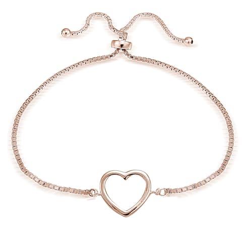 Mondevio Silver Open Heart Adjustable Slider Bracelet