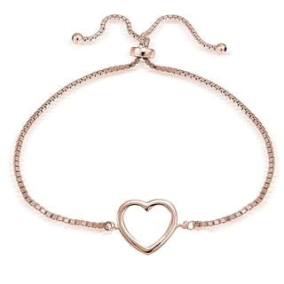 Mondevio Silver Open Heart Adjustable Slider Bracelet