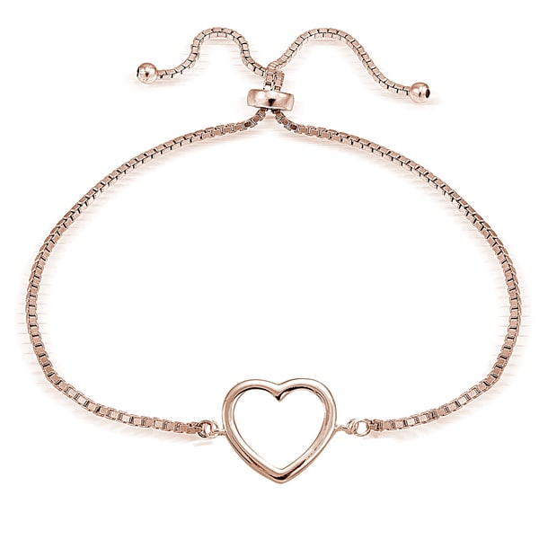 Mondevio Silver Open Heart Adjustable Slider Bracelet. Opens flyout.