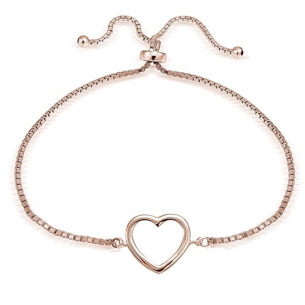 Mondevio Goldplated or Silver Adjustable Slider Open Heart Bracelet