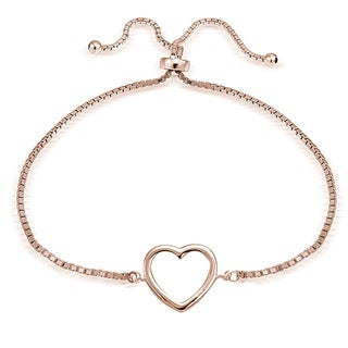 Mondevio Goldplated or Silver Adjustable Slider Open Heart Bracelet (3 options available)