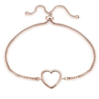 Mondevio Goldplated or Silver Adjustable Slider Open Heart Bracelet