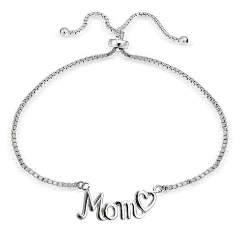 Mondevio Silver Mom and Heart Adjustable Slider Bracelet