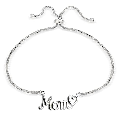 Mondevio Silver Mom and Heart Adjustable Slider Bracelet