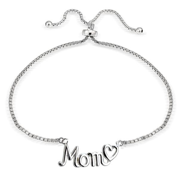 Mondevio Silver Mom and Heart Adjustable Slider Bracelet. Opens flyout.