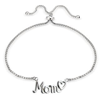 Mondevio Silver Mom and Heart Adjustable Slider Bracelet (3 options available)