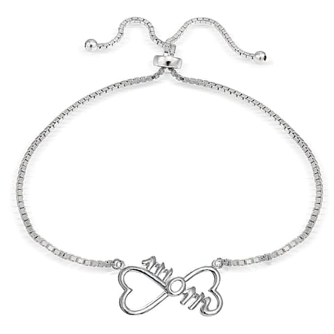 Mondevio Silver Mom Infinity Adjustable Slider Bracelet