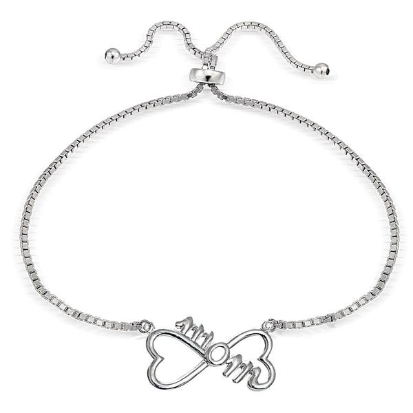 Mondevio Silver Mom Infinity Adjustable Slider Bracelet. Opens flyout.