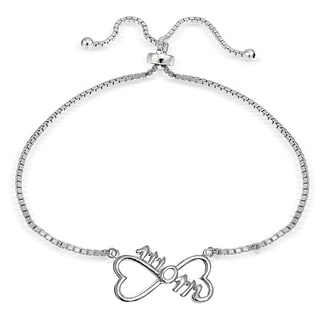 Mondevio Silver Mom Infinity Adjustable Bolo Bracelet