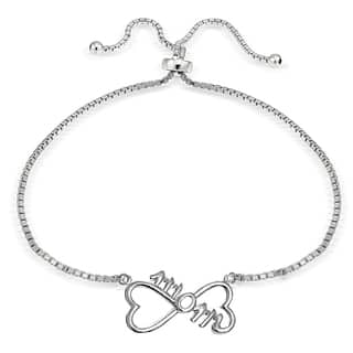 Mondevio Silver Mom Infinity Adjustable Slider Bracelet|https://ak1.ostkcdn.com/images/products/11504995/P18456391.jpg?impolicy=medium