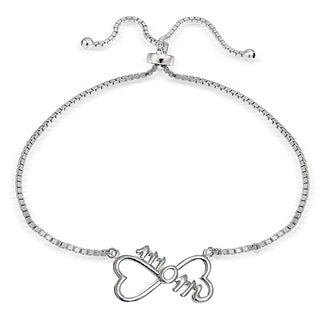 Mondevio Silver Mom Infinity Adjustable Slider Bracelet