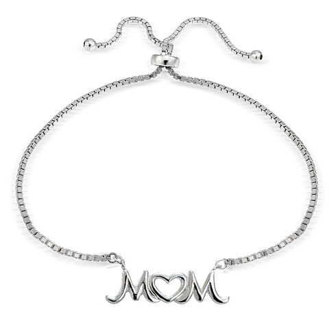 Mondevio Silver Mom Open Heart Adjustable Slider Bracelet