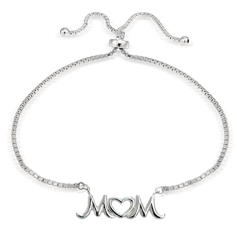Mondevio Silver Mom Open Heart Adjustable Slider Bracelet