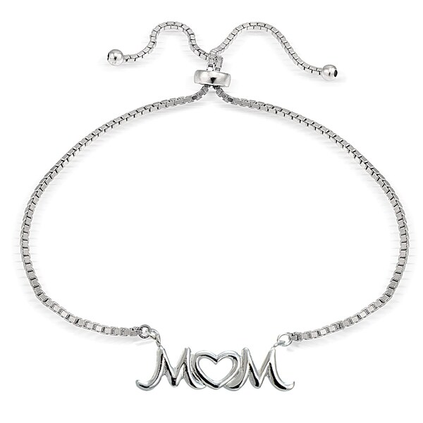 Mondevio Silver Mom Open Heart Adjustable Slider Bracelet. Opens flyout.