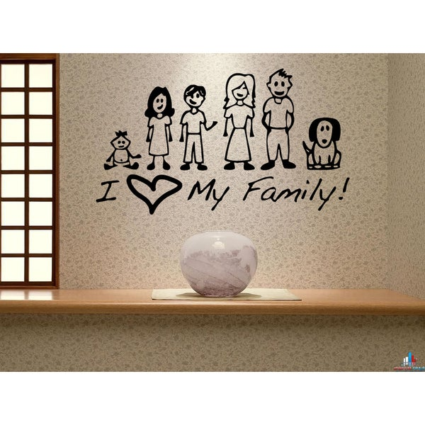 Shop I love my family! Wall Art Sticker Decal - Free Shipping On ...