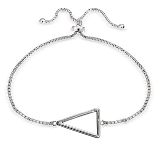 Mondevio Silver Open Triangle Adjustable Slider Bracelet