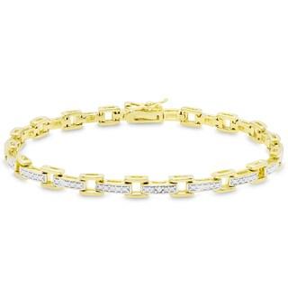 Finesque Gold Over Sterling Silver Diamond Accent Square Link Bracelet (I-J, I2-I3)