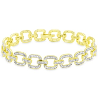 Finesque Gold Over Sterling Silver 1/2ct TDW Diamond Square Link Bracelet
