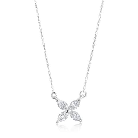 SummerRose 14k White Gold 1/2ct TDW Diamond Marquise Flower Pendant