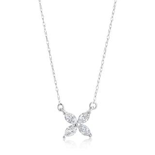 Andrew Charles 14k White Gold 1/2ct TDW Diamond Marquise Flower Pendant (H-I, SI1-SI2)