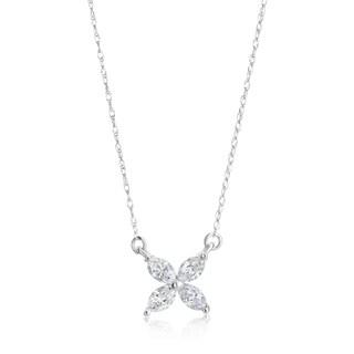 Andrew Charles 14k White Gold 1/2ct TDW Diamond Marquise Flower Pendant
