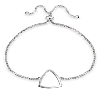 Mondevio Silver Fancy Triangle Adjustable Bolo Bracelet