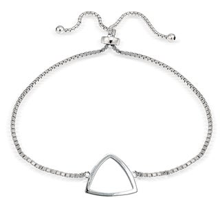 Mondevio Silver Fancy Triangle Adjustable Slider Bracelet