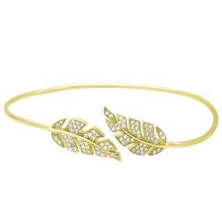 Samantha Stone Gold Over Sterling Silver Cubic Zirconia Open Leaf Bangle