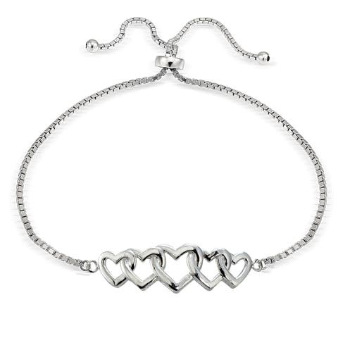 Mondevio Silver Intertwining Heart Adjustable Slider Bracelet