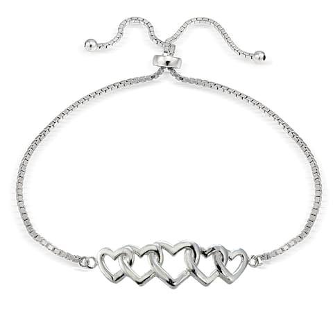 Mondevio Silver Intertwining Heart Adjustable Slider Bracelet