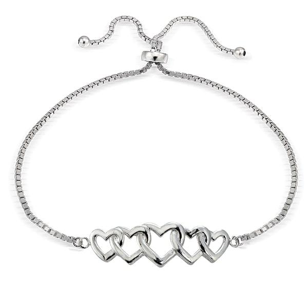 Mondevio Silver Intertwining Heart Adjustable Slider Bracelet. Opens flyout.