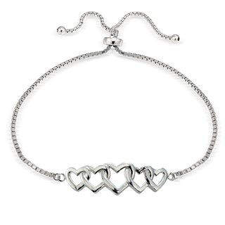 Mondevio Silver Intertwining Heart Adjustable Bolo Bracelet