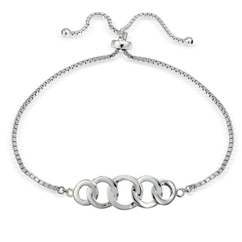 Mondevio Silver Intertwining Open Circle Adjustable Slider Bracelet