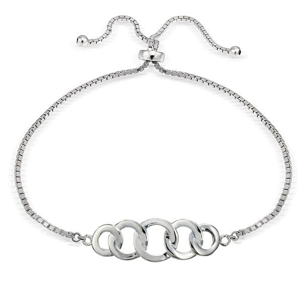 Mondevio Silver Intertwining Open Circle Adjustable Slider Bracelet