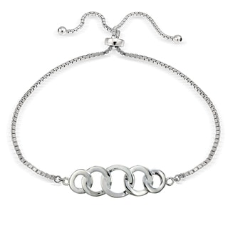 Mondevio Silver Intertwining Open Circle Adjustable Bolo Bracelet