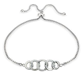Mondevio Silver Intertwining Open Circle Adjustable Slider Bracelet|https://ak1.ostkcdn.com/images/products/11505383/P18456716.jpg?impolicy=medium