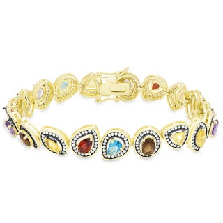Samantha Stone Gold Over Sterling Silver Simulated Gemstone and Cubic Zirconia Bracelet