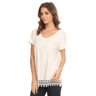 MOA Collection Women's Crochet Detail Top