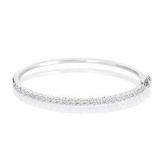 Andrew Charles 14k White Gold 2 1/10ct TDW Diamond Bangle (H-I, VS1-VS2)