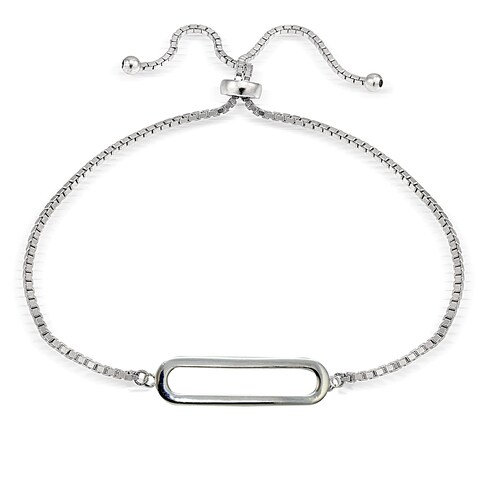 Mondevio Silver Open Bar Adjustable Slider Bracelet
