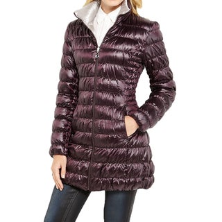 Laundry by Shelli Segal Burgundy Reversible Packable Coat