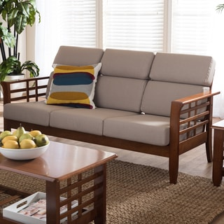 Baxton Studio Leda Modern Mission Beige High Back Sofa