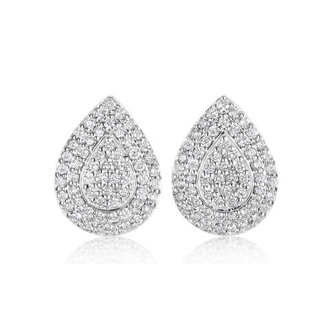SummerRose 14k White Gold 1 1/10ct TDW Diamond Pave Drop Earrings - White H-I