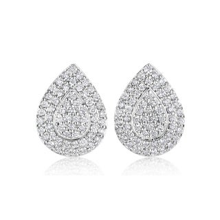 Andrew Charles 14k White Gold 1 1/10ct TDW Diamond Pave Drop Earrings