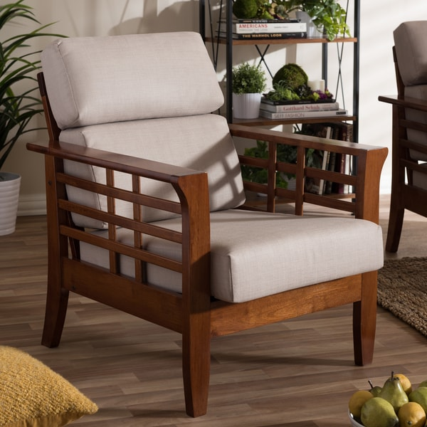 Baxton Studio Leda Modern Mission Beige High Back Accent Chair Part 49