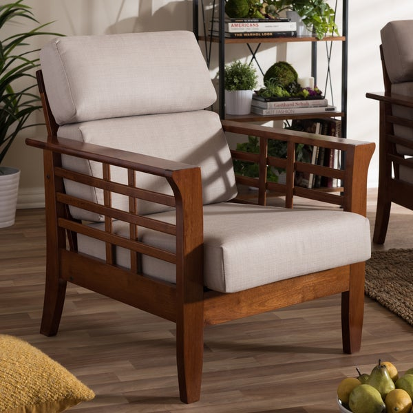 Contemporary Lounge Chairs Living Room: Shop Baxton Studio Leda Modern Mission Beige High Back