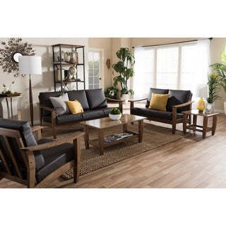 Baxton Studio Phanessa Mid-century Modern Brown Faux Leather Living Room Sofa Set