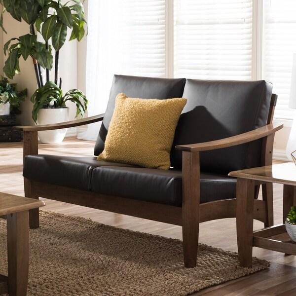 Baxton Studio Phanessa Mid Century Modern Dark Brown Faux Leather Loveseat