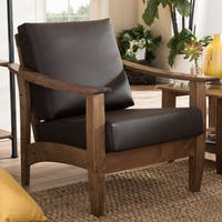 Baxton Studio Phanessa Mid-century Brown Faux Leather Accent Chair