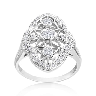 Andrew Charles 14k White Gold 1/2ct TDW Diamond Antique Ring (H-I, SI1-SI2)